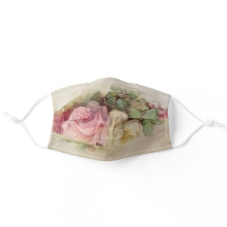 Handpainted Style Vintage Pink and White Roses Adult Cloth Face Mask