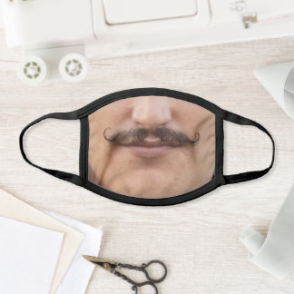 Handsome man with mustache face mask