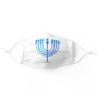 Hanukkah Jewish Holiday Navy Blue Menorah Pattern Adult Cloth Face Mask