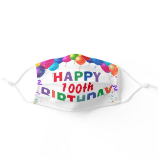 Happy 100th Birthday Colorful Balloons White Adult Cloth Face Mask