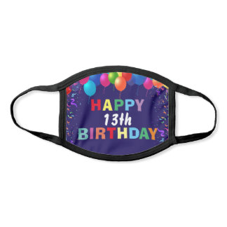 Happy 13th Birthday Colorful Balloons Navy Blue Face Mask