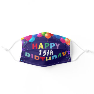 Happy 15th Birthday Colorful Balloons Navy Blue Adult Cloth Face Mask