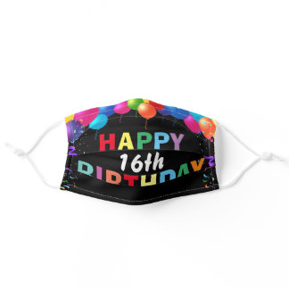 Happy 16th Birthday Colorful Balloons Black Adult Cloth Face Mask