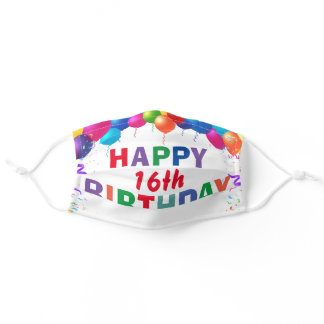 Happy 16th Birthday Colorful Balloons White Adult Cloth Face Mask