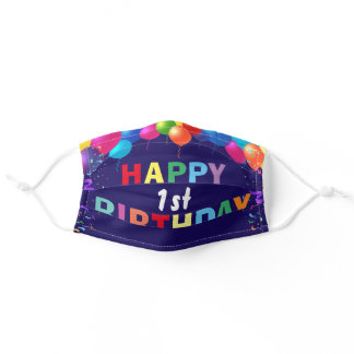 Happy 1st Birthday Colorful Balloons Navy Blue Adult Cloth Face Mask