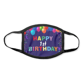 Happy 1st Birthday Colorful Balloons Navy Blue Face Mask