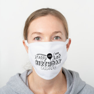 Happy 1st Birthday Sketch White Cotton Face Mask
