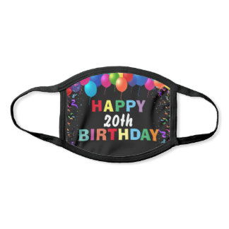 Happy 20th Birthday Colorful Balloons Black Face Mask