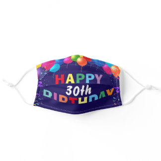 Happy 30th Birthday Colorful Balloons Navy Blue Adult Cloth Face Mask