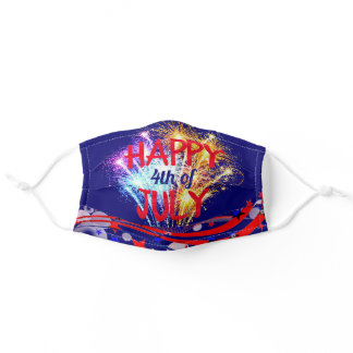 Happy 4th of July Fire Works Patriotic Adjustable Adult Cloth Face Mask