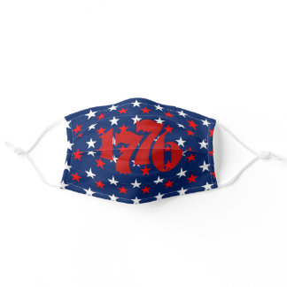 Happy 4th of July Red White Blue Stars 1776 Kids Adult Cloth Face Mask