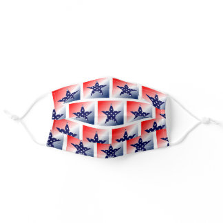 Happy 4th of July Red White Blue Stars Adjustable Adult Cloth Face Mask