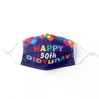 Happy 50th Birthday Colorful Balloons Navy Blue Adult Cloth Face Mask