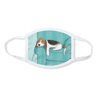 Happy Beagle | Cute Cartoon Dog on Couch Face Mask