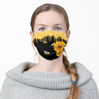 Happy bees glitter drips sunflowers floral black adult cloth face mask