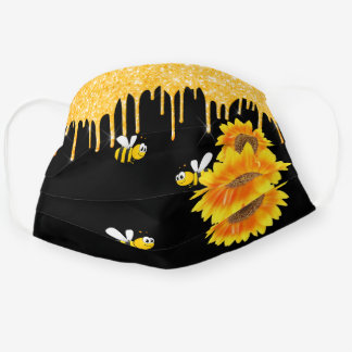 Happy bees glitter drips sunflowers floral black cloth face mask