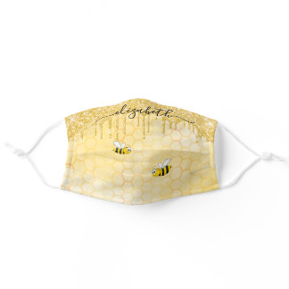 Happy bees yellow gold glitter drips monogram adult cloth face mask