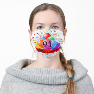 Happy Birthday 91 Adult Cloth Face Mask