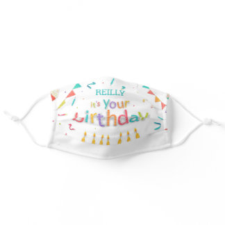 Happy Birthday Custom Name, Candles, Confetti Adult Cloth Face Mask