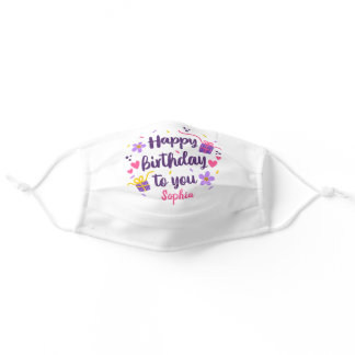 Happy Birthday To You Custom Name Cute Floral Adult Cloth Face Mask