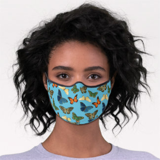 Happy Blue Orange Green Butterflies Art Pattern Premium Face Mask