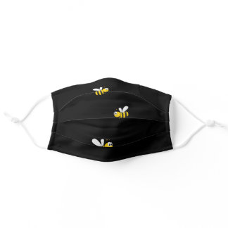 Happy bumble bees yellow black summer adult cloth face mask
