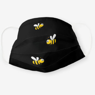 Happy bumble bees yellow black summer cloth face mask