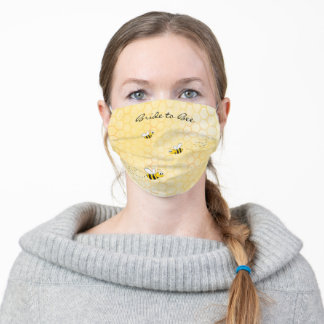 Happy bumble bees yellow Bride Bridal Shower Adult Cloth Face Mask