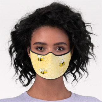 Happy bumble bees yellow honeycomb summer premium face mask