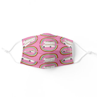 Happy Camper Double Rainbows RV Pattern Pink Adult Cloth Face Mask
