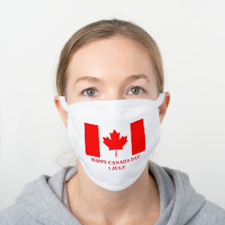 HAPPY CANADA DAY! WHITE COTTON FACE MASK