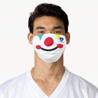 Happy Clown Face Vaccinated Heart Adult Cloth Face Mask