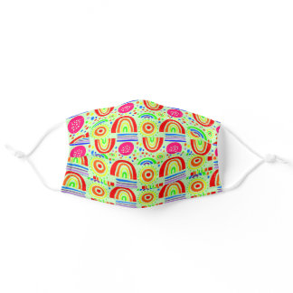 happy colorful rainbows on a pale green background adult cloth face mask