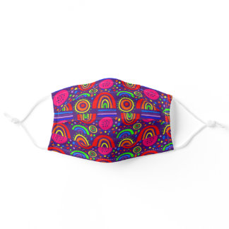 happy colorful rainbows on a purple background adult cloth face mask