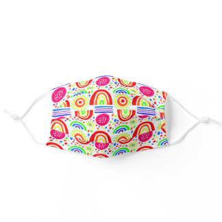 happy colorful rainbows on a white background adult cloth face mask