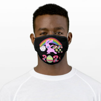 Happy Easter 2021 Dabbing Bunny Masked Adult Cloth Face Mask