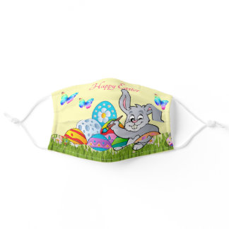 Happy Easter Bunny Colored Eggs Pretty Spring Adult Cloth Face Mask