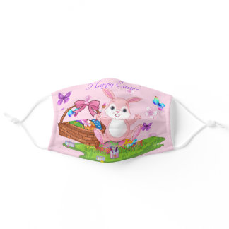 Happy Easter Bunny Colored Eggs Pretty Spring Cute Adult Cloth Face Mask