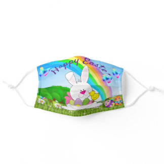 Happy Easter Bunny Colored Eggs Rainbow Cute Adult Cloth Face Mask