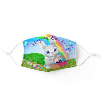Happy Easter Bunny Colored Eggs Rainbow Pretty Adult Cloth Face Mask