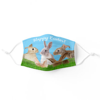 Happy Easter Bunny Rabbit in Grass Adult Cloth Face Mask