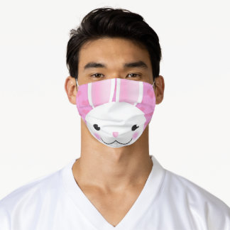 Happy Easter For Anyone Bunny Face With Hearts   Adult Cloth Face Mask