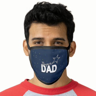 "Happy Father's Day Modern Design ""SUPER DAD"" blue Face Mask"