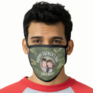 Happy Father's Day - Photo Camouflage Green Face Mask