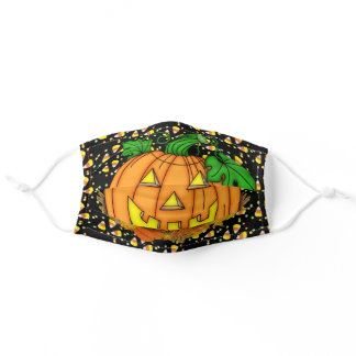 Happy Halloween Smiling Pumpkin Candy Corn Fabric Adult Cloth Face Mask