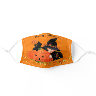 Happy Halloween Smiling Pumpkin Little Witch Adult Cloth Face Mask