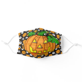 Happy Halloween Smiling Pumpkin Tiny Ghosts Fabric Adult Cloth Face Mask
