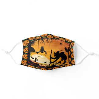 Happy Halloween Witch & Pumpkins Comfortable Adult Cloth Face Mask