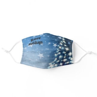 Happy Holidays Blue Tree Stars Women's Comfortable Adult Cloth Face Mask