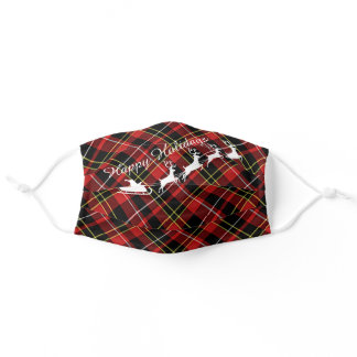 Happy Holidays On Red White Black Yellow Plaid Adult Cloth Face Mask